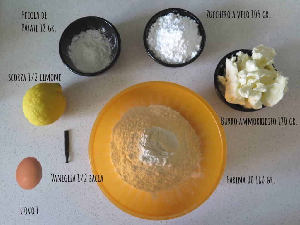 Ingredienti ricetta pasticcini frolla montata