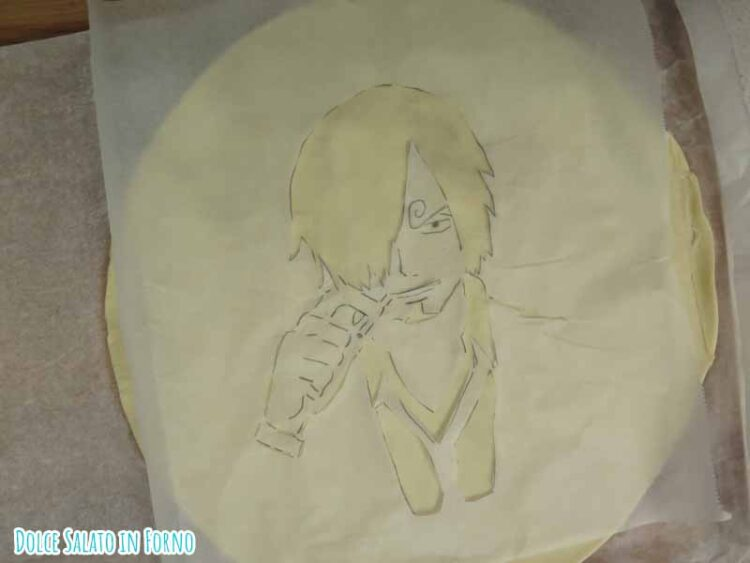 Sanji One Piece decorato pasta briseè