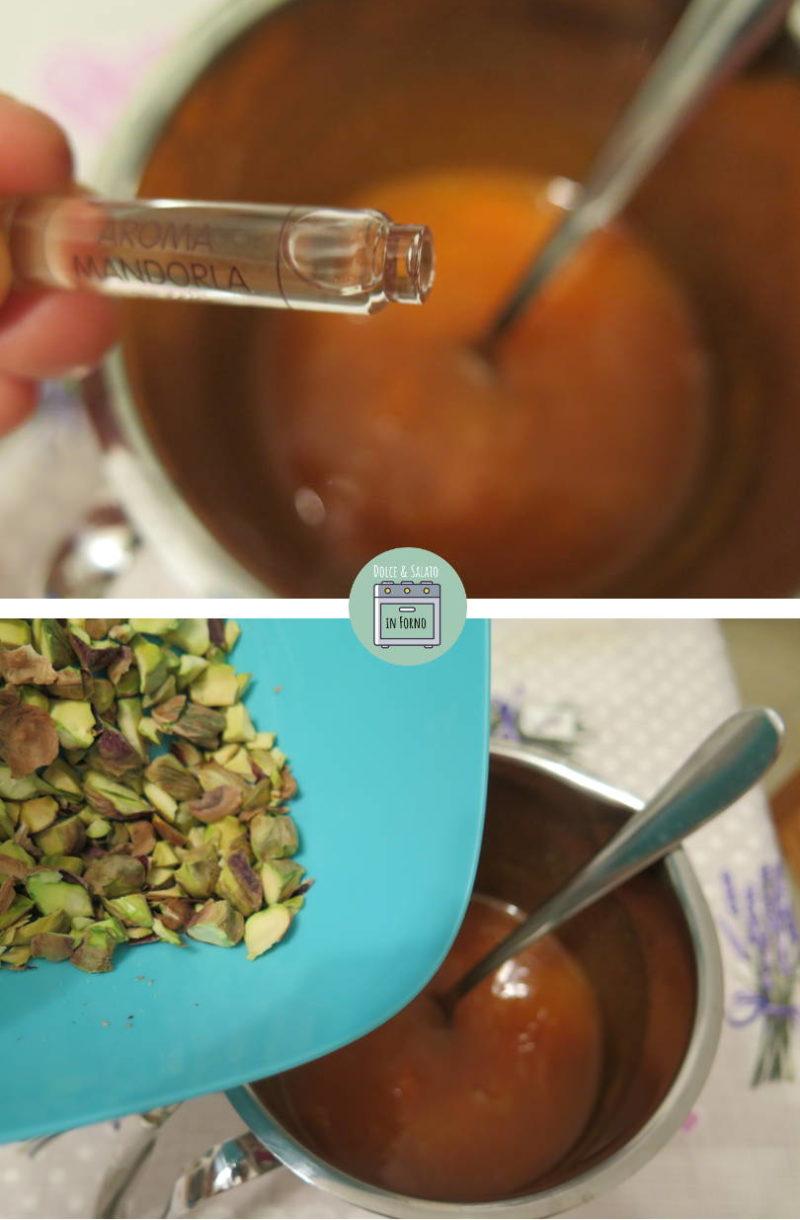 Aggiungere aroma di mandorle e pistacchi tritati grossolanamente