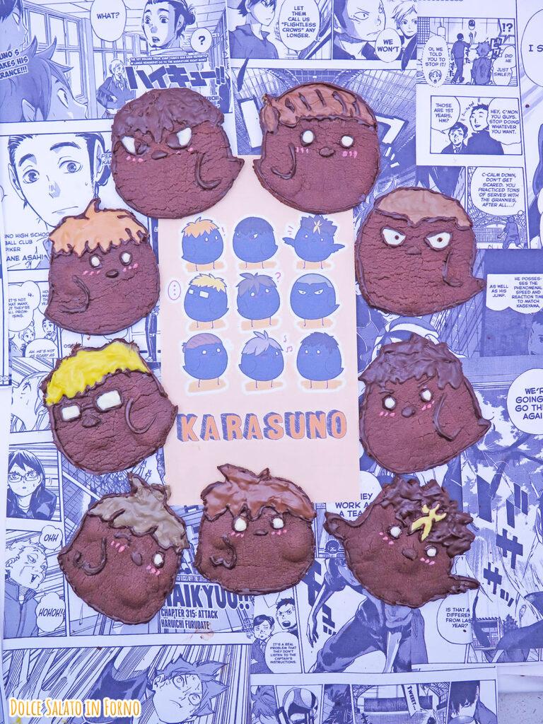 Biscotti al cacao a forma di corvi squadra Karasuno di Haikyu!