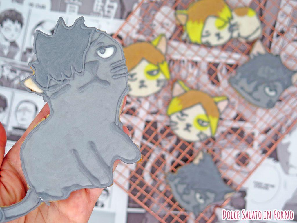 Biscotto a forma di Kuroo Tetsurou versione gatto