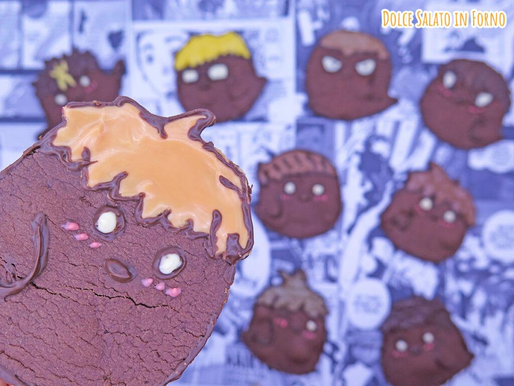 Biscotto al cacao a forma di corvo Shoyo Hinata di Haikyu