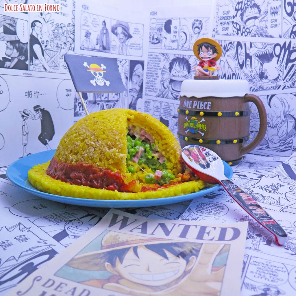 Bomba di riso ripiena a forma di cappello di paglia Rufy One Piece