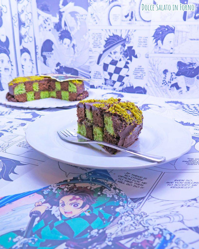 Checkerboard cake di Tanjiro Kamado di Demon Slayer