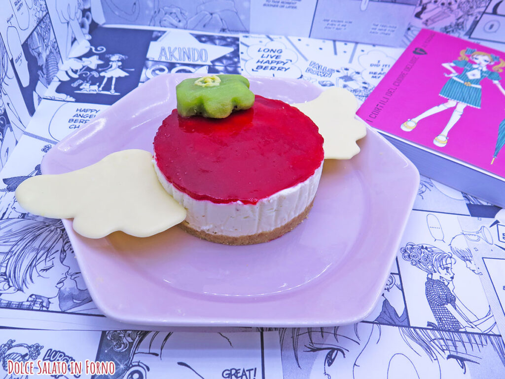 Cheesecake ai lamponi a forma di Happy Berry di Gokinjo Monogatari