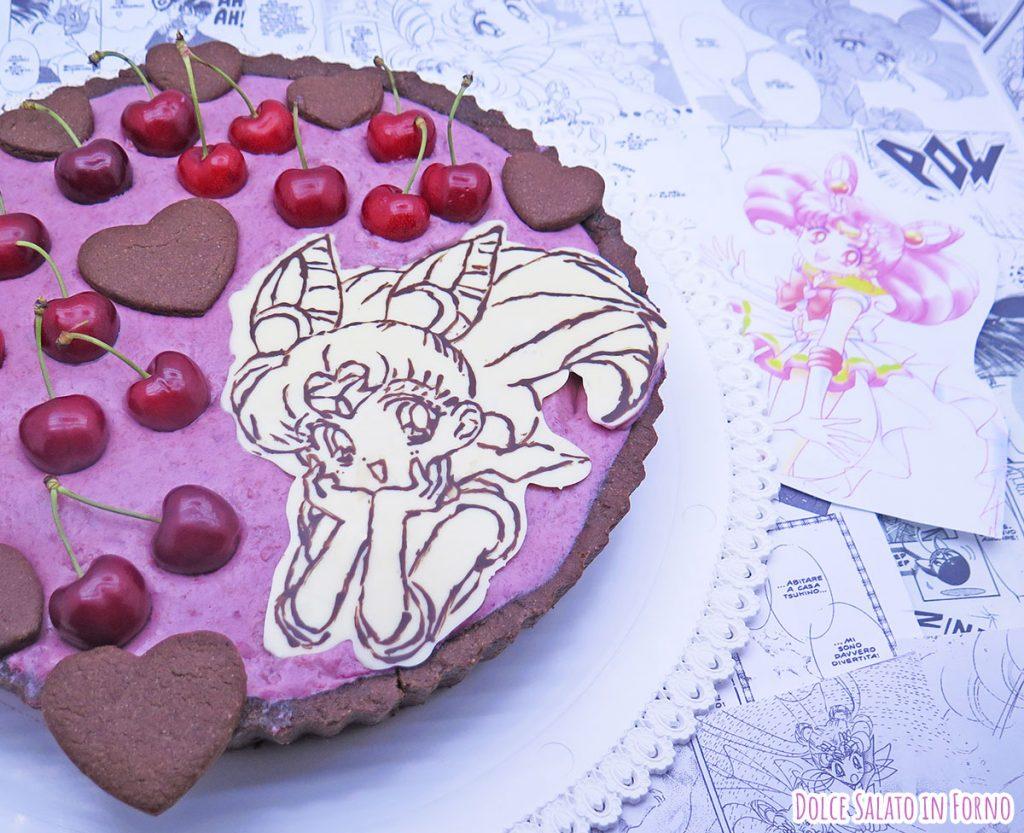 Crostata frangipane al cacao e mousse alle ciliegie di Sailor Chibiusa