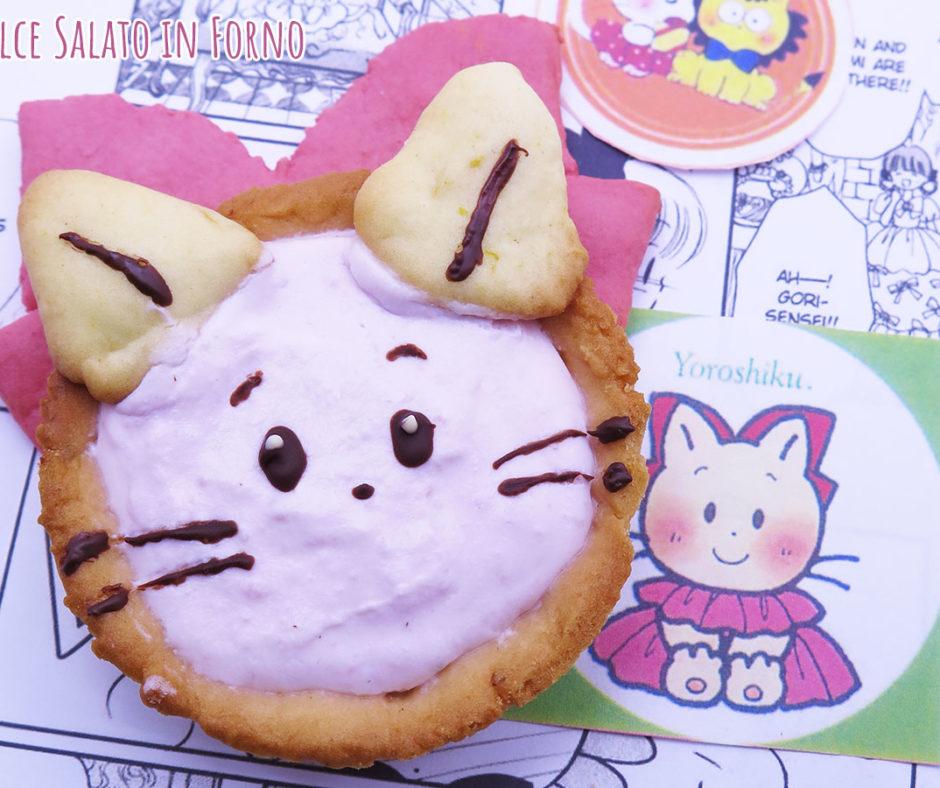 Crostatine con crema di ricotta e fragole a forma di Pink di un fiocco per cambiare un fiocco per sognare