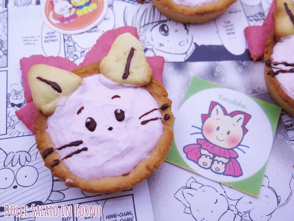 Crostatine con crema di ricotta e fragole a forma di Pink di Hime chan no ribbon