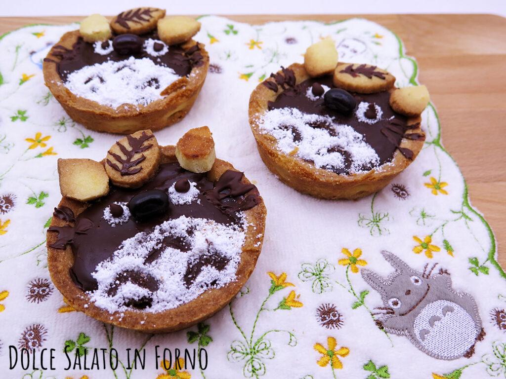 Crostatine cioccolato e pere a forma di Totoro
