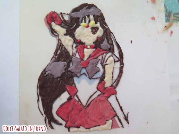 decorazione Sailor Mars in cioccolato