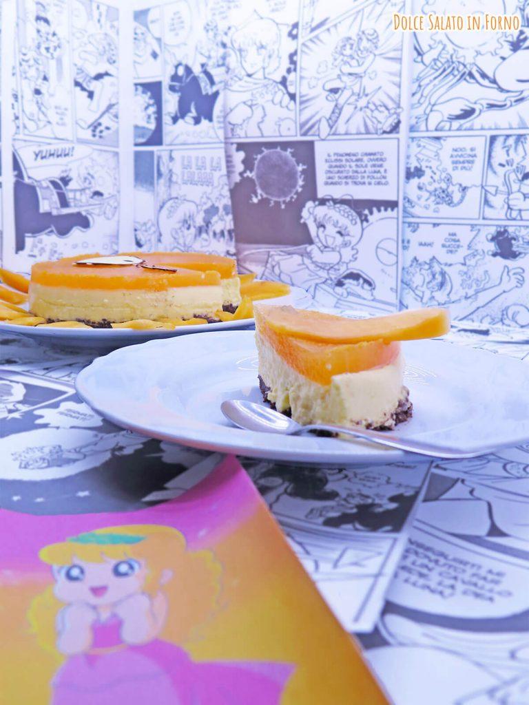 Fetta di torta fredda al melone e mascarpone di Pollon