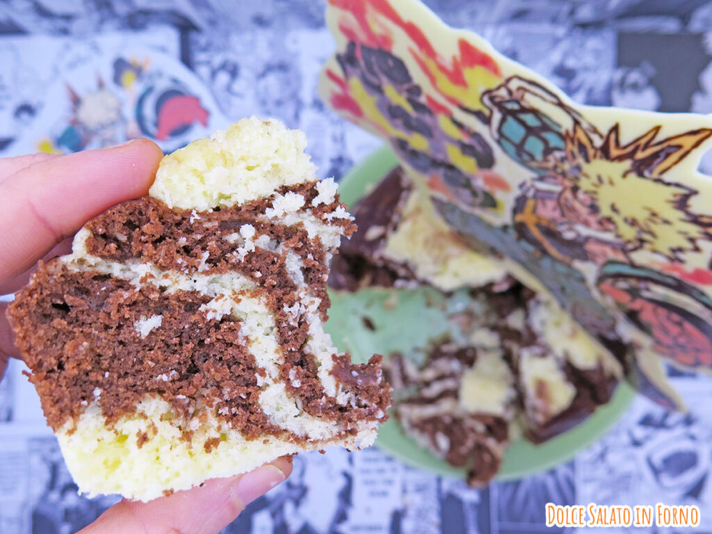 Fetta huat Kuih al vapore al cocco e cacao di Katsuki Bakugo di MHA
