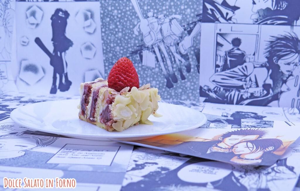 Fetta di torta alle fragole e namelaka al limone di Nana Osaki e Ren Honjo