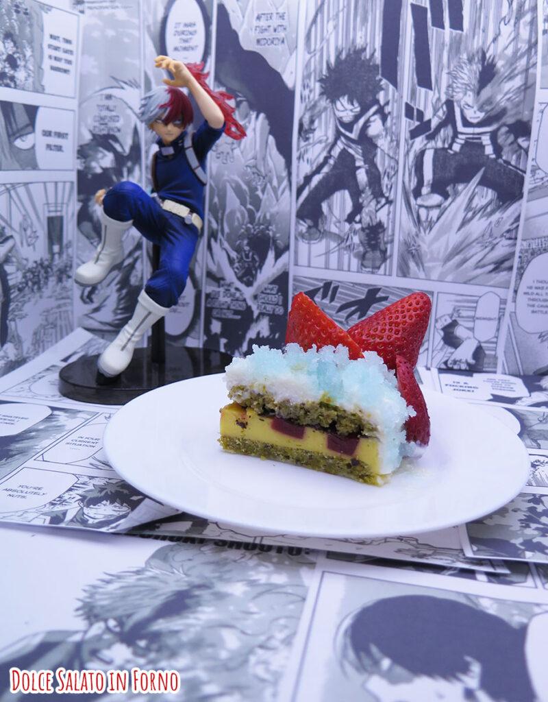 Fetta di Torta limone fragola pistacchio di Shoto Todoroki di My Hero Academia