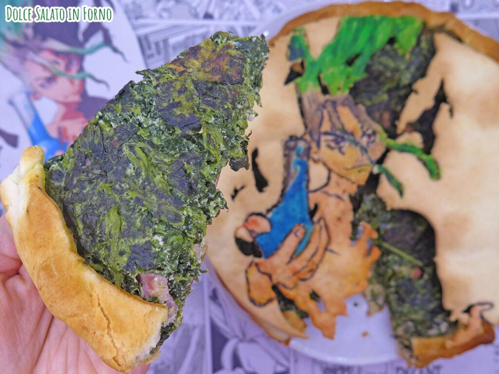 fetta Torta salata alla ricotta, spinaci e pancetta di Senku Ishigami