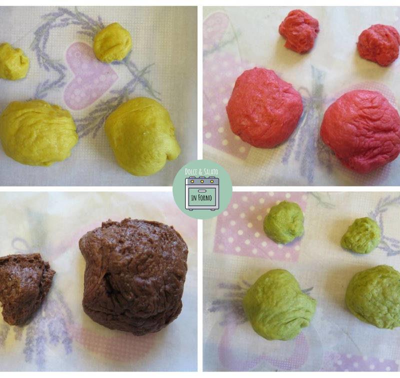Impasti divisi orsetti di brioche colorati