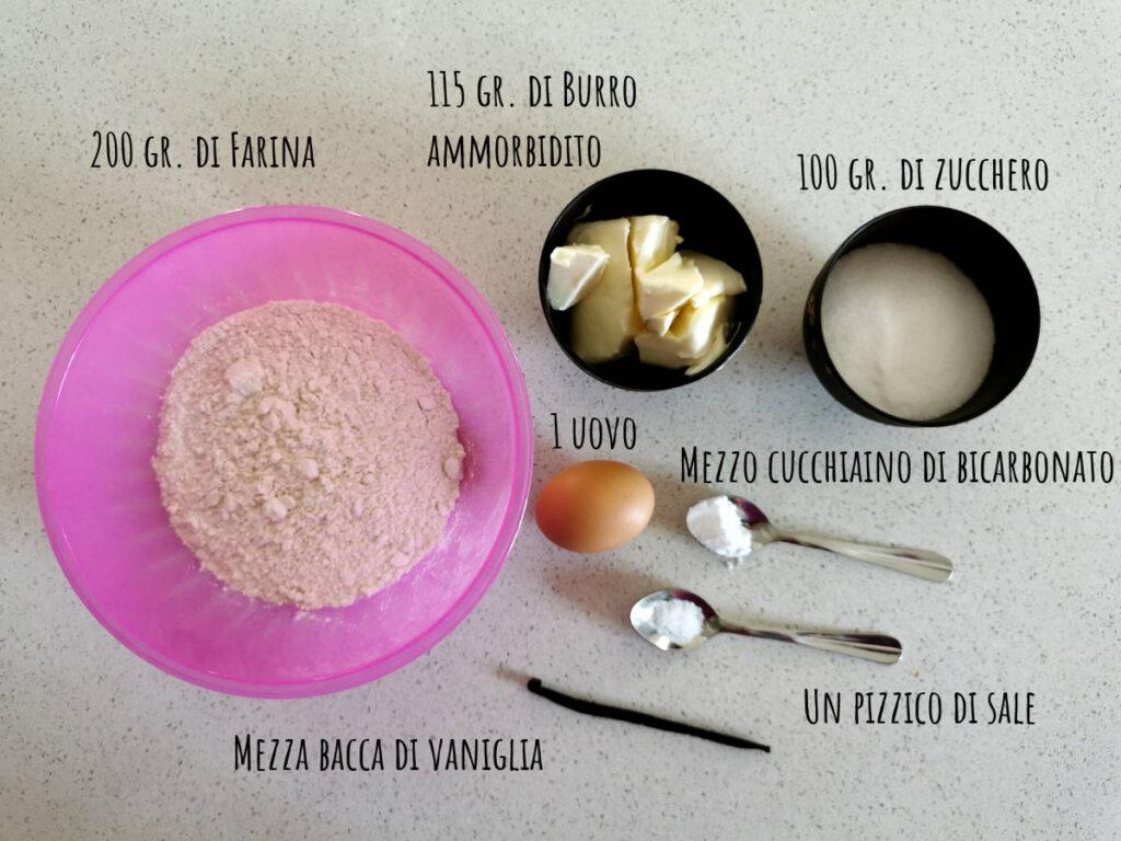 ingredienti dei biscotti al burro