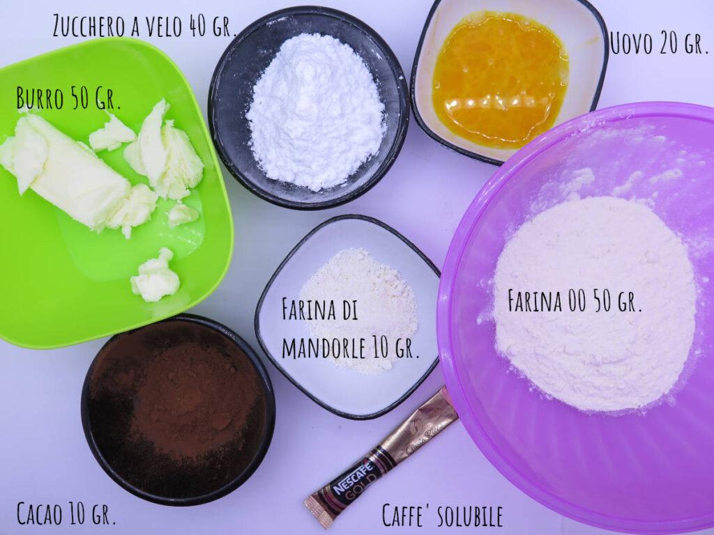 Ingredienti biscotti sparabiscotti cacao caffè