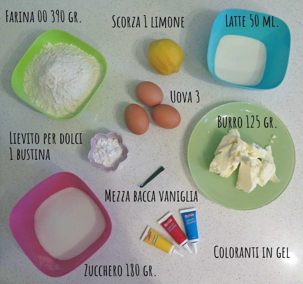 Ingredienti ciambella arcobaleno unicorno