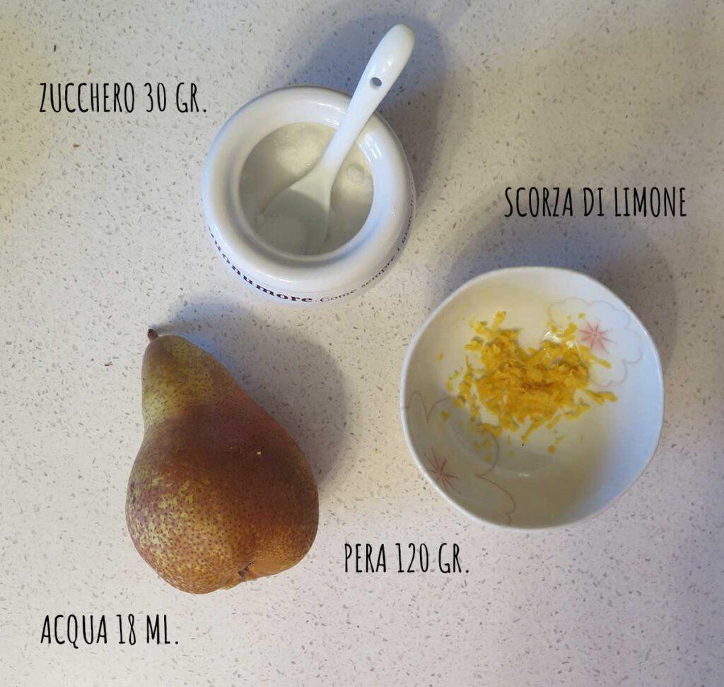 Ingredienti dadolata pere caramellate