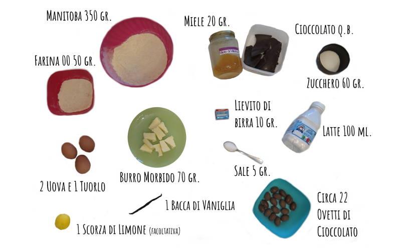 Ingredienti danubio dolce con ovetti di cioccolato