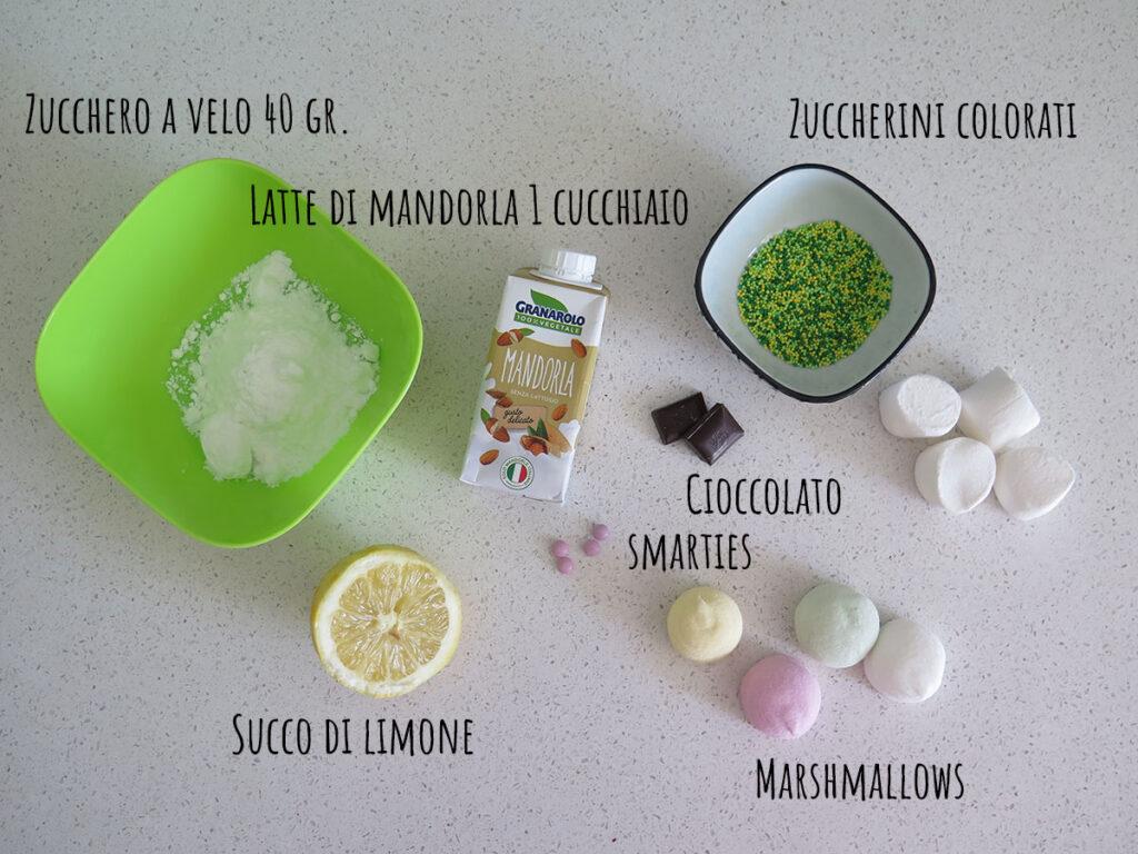 Ingredienti decorazione muffin di carote light