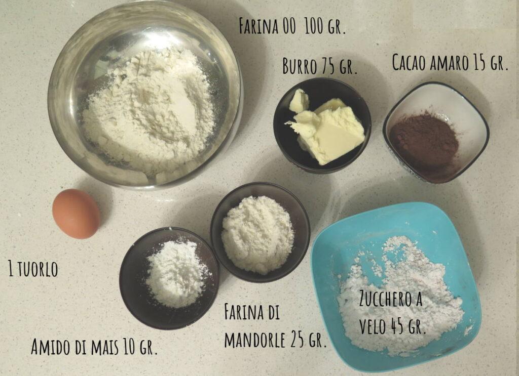 Ingredienti frolla cacao e mandorle