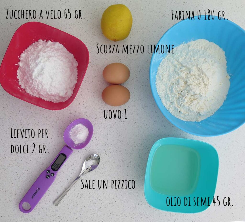Ingredienti per la frolla all'olio