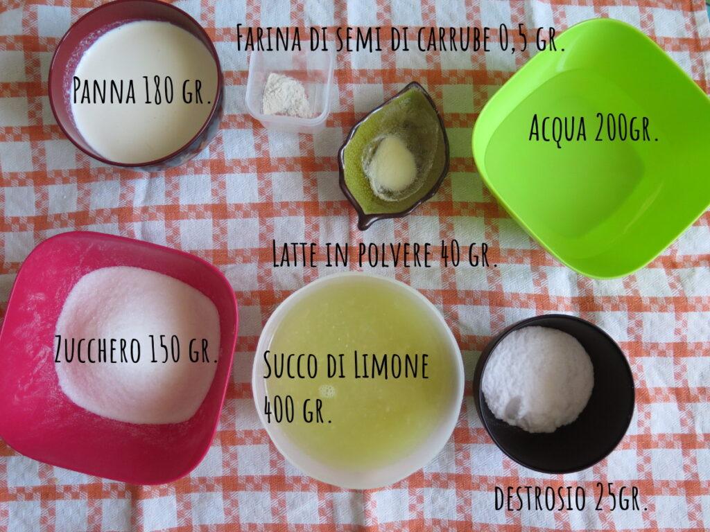 Ingredienti gelato al limone