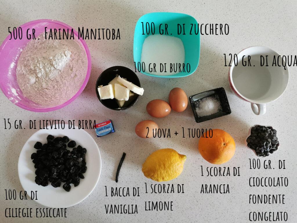 ingredienti pan brioche con gocce di  cioccolato ciliegie essiccate