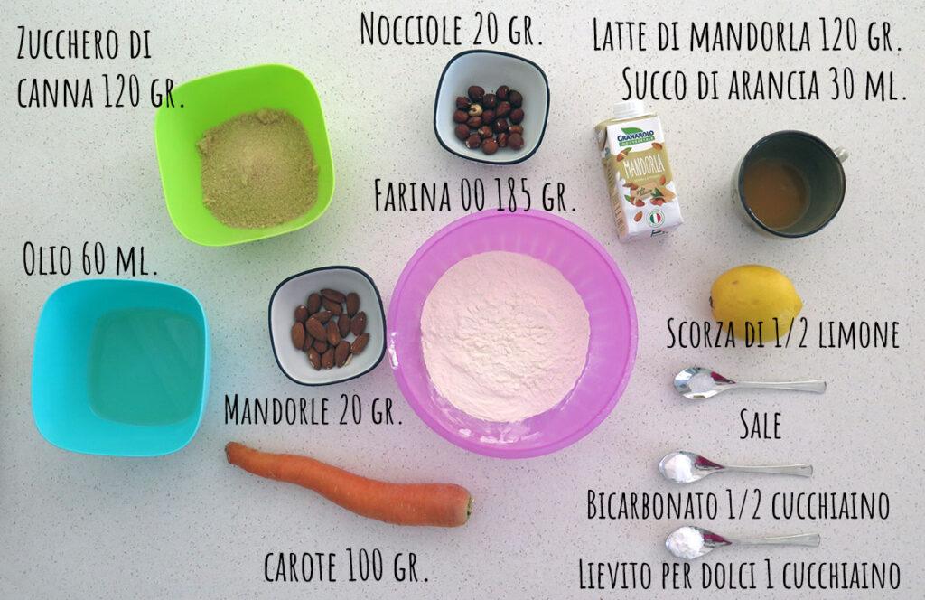 Ingredienti muffin di carote light