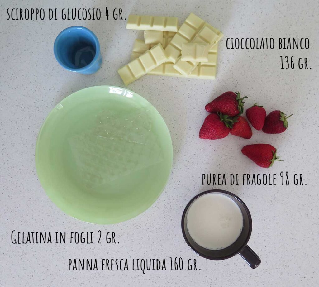 Ingredienti per la namelaka alla fragola