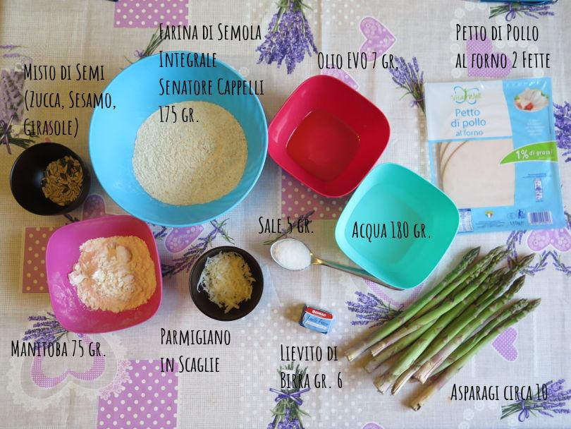 Ingredienti panfocaccia integrale con farina di semola senatore cappelli, asparagi, petto di pollo al forno e scaglie di Parmigiano Reggiano