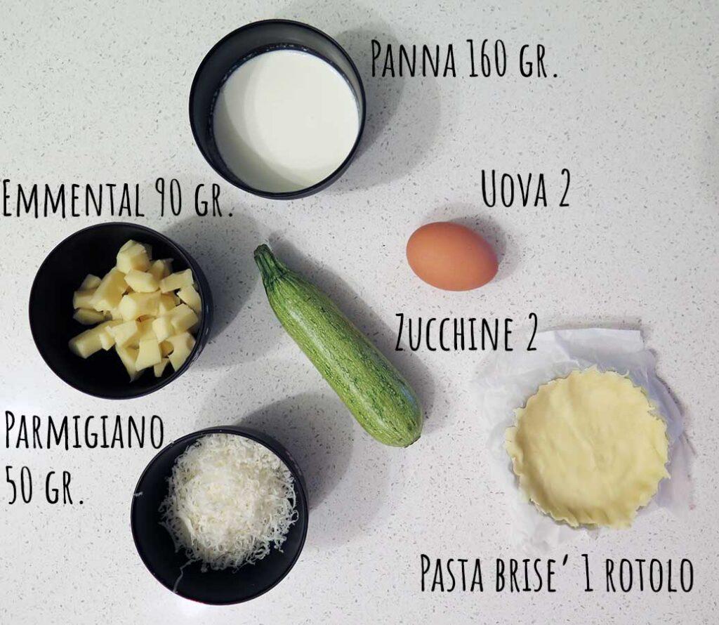 Ingredienti quiche pasquali zucchine emmental