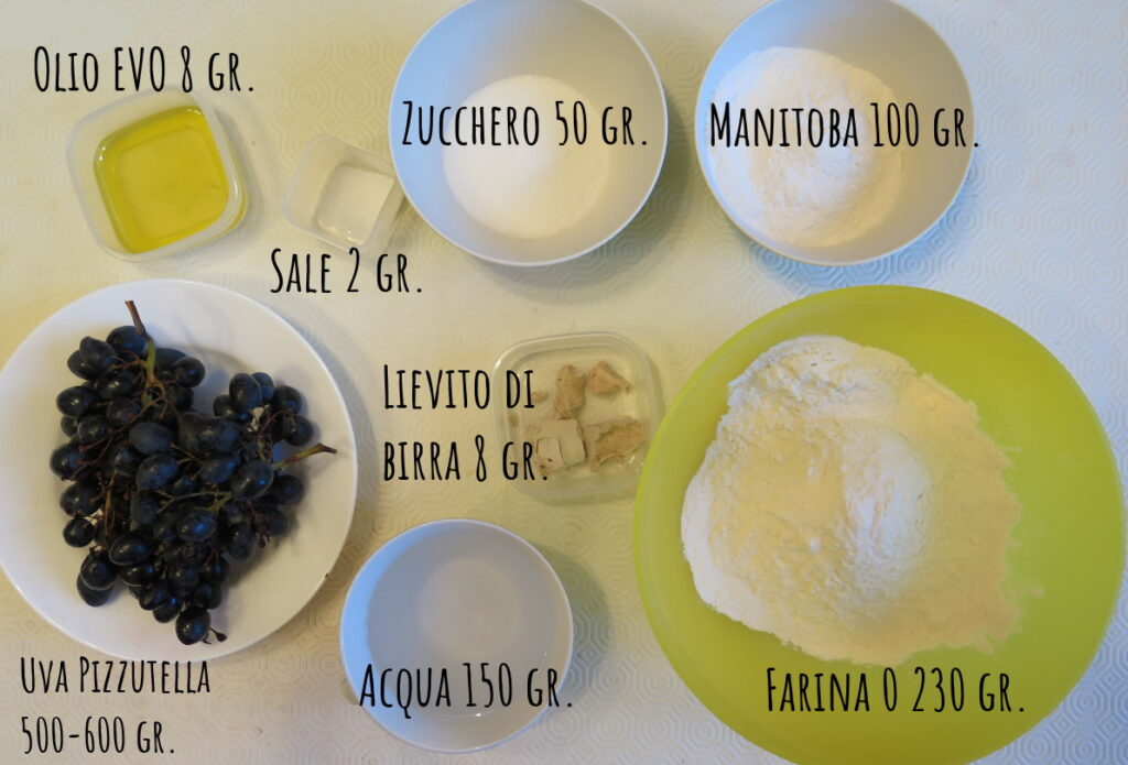 Ingredienti schiacciata uva