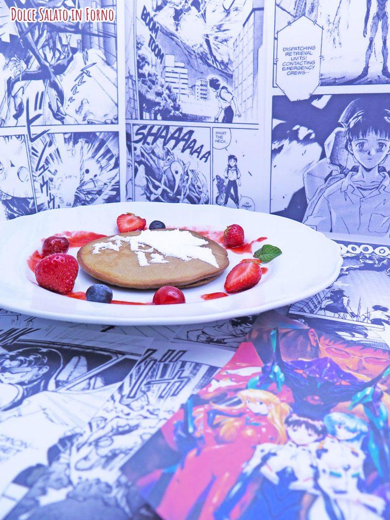 ancake al caffè con il logo della Nerv di Neon Genesis Evangelion