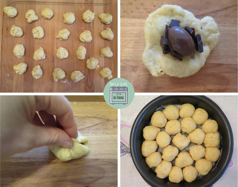 Preparazione del danubio dolce con ovetti di cioccolato