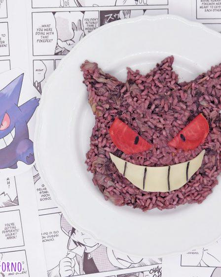 Risotto al radicchio e vino rosso a forma di Pokemon Gengar