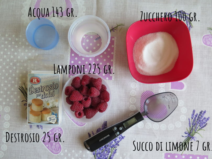 Sorbetto lampone ingredienti