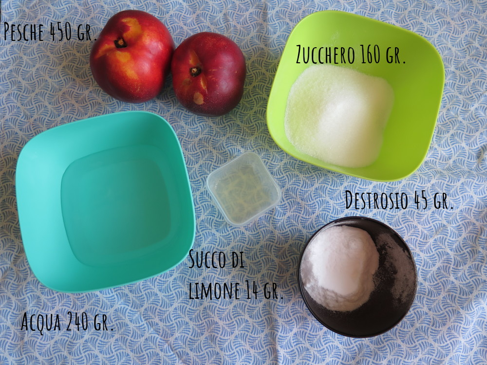 Ingredienti sorbetto pesca