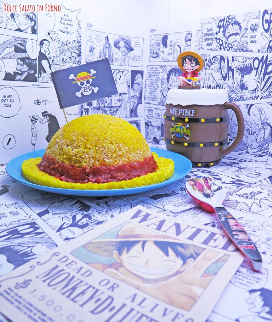 Timballo ripieno riso a forma di cappello di paglia Rufy One Piece