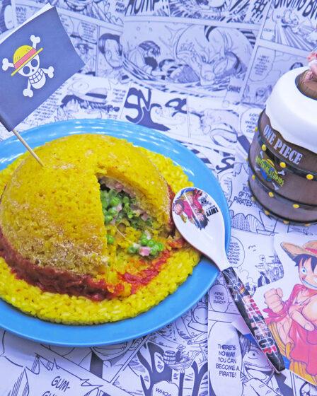 Timballo riso a forma di cappello di paglia Rufy One Piece
