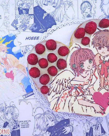 Torta cioccolato bianco e lamponi di Sakura Kinomoto e Li Shaoran di Card Captor Sakura