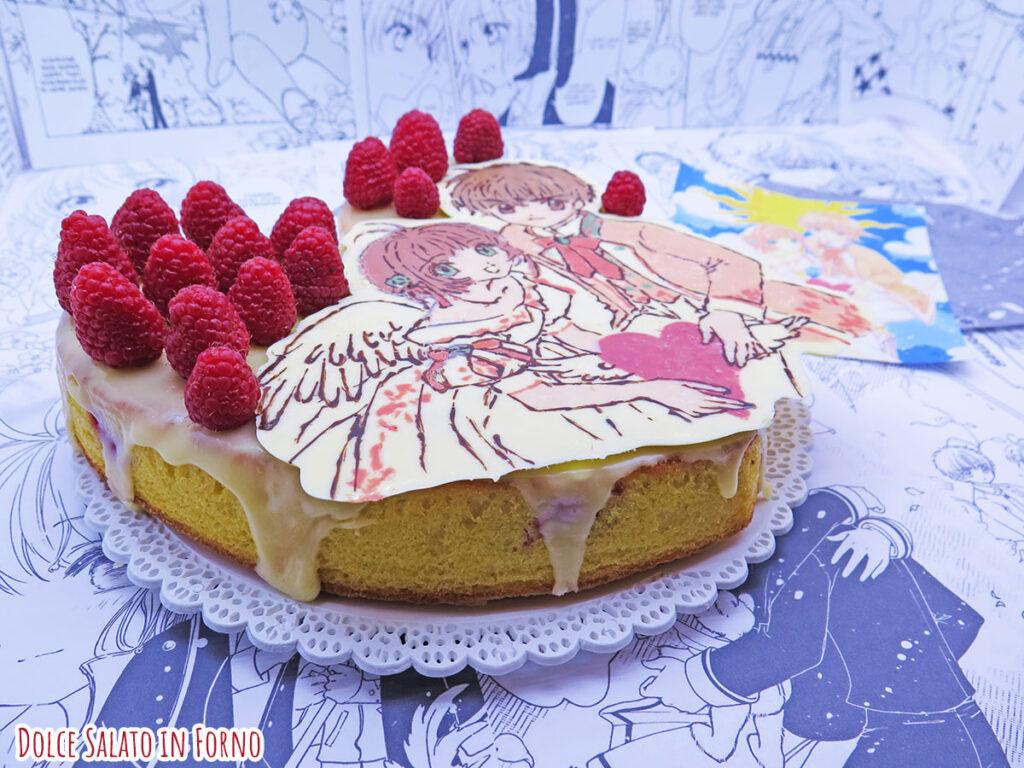 Torta cioccolato bianco e lamponi di Sakura Kinomoto e Li Syaoran di Card Captor Sakura