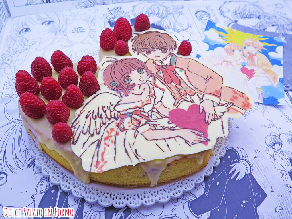 Torta cioccolato bianco e lamponi di Sakura Kinomoto e Shaoran Lidi Card Captor Sakura