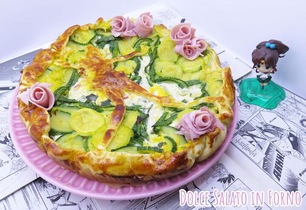 "Torta salata ""Sailor Jupiter"" zucchine, ricotta, prosciutto cotto e scamorza"
