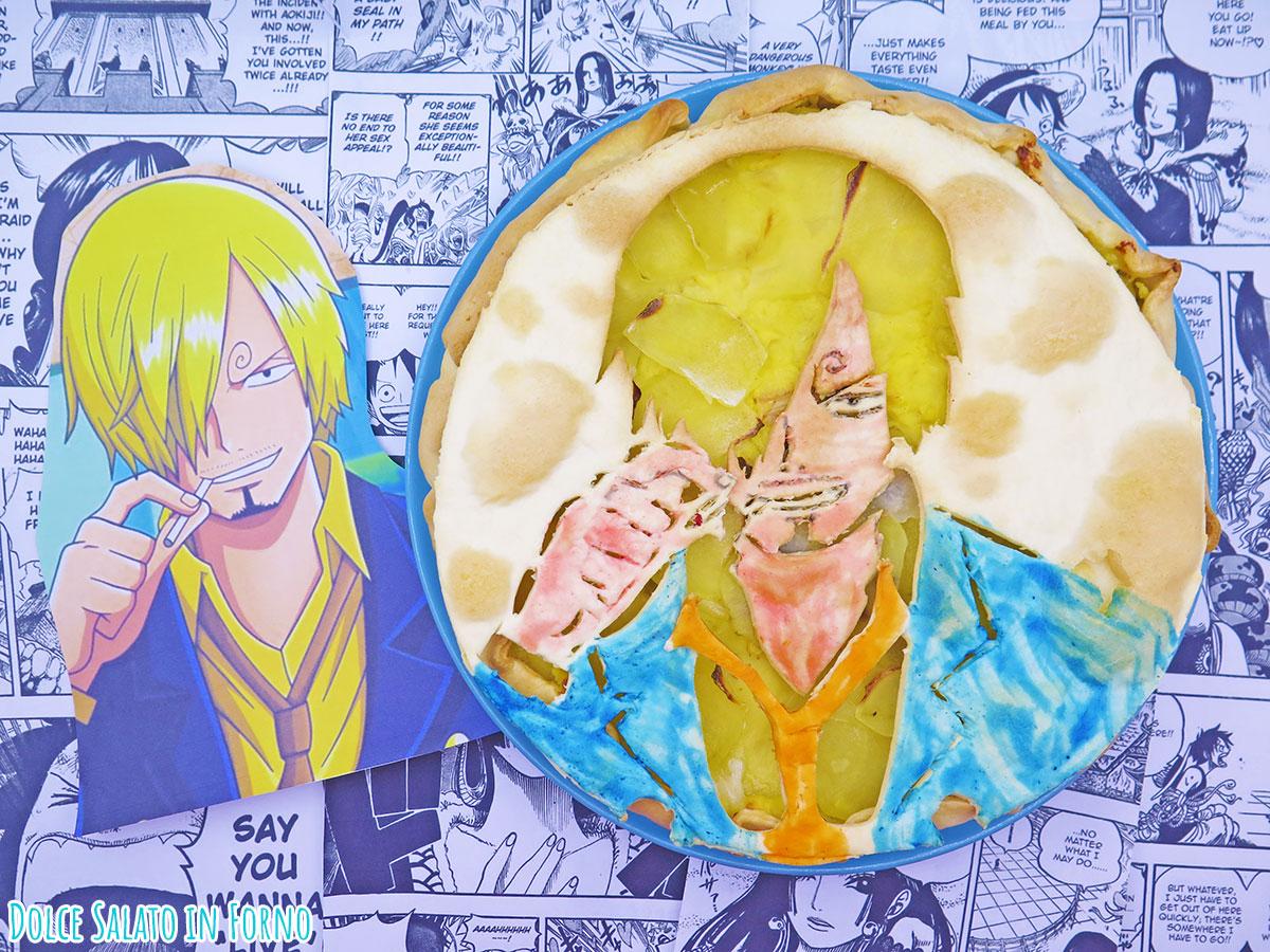 Torta salata salsiccia patate scamorza di Sanji di One Piece