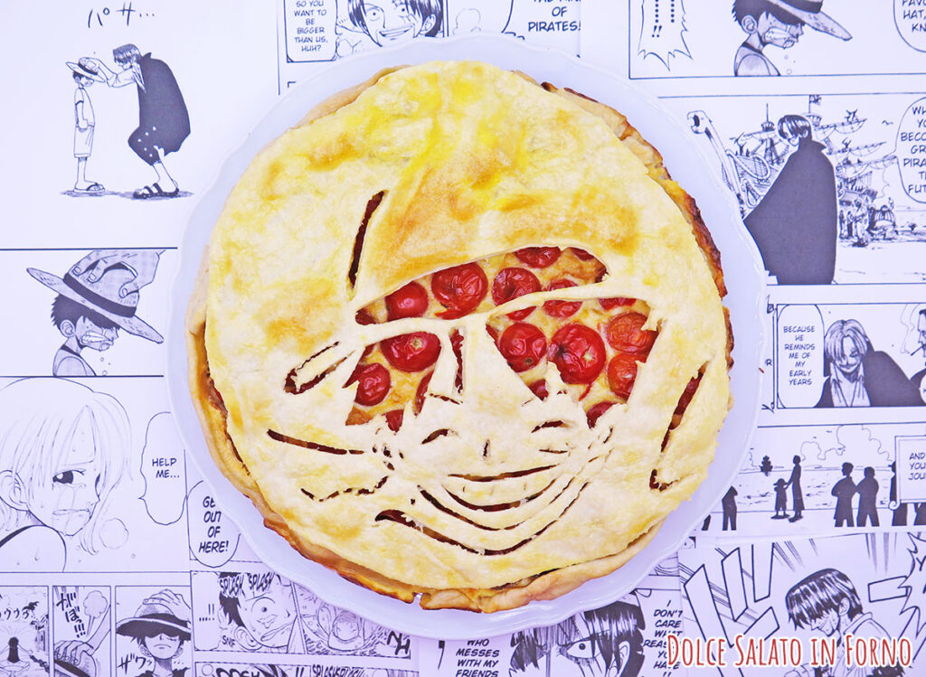 Torta salata pomodorini, tonno, capperi e olive di Luffy di One Piece