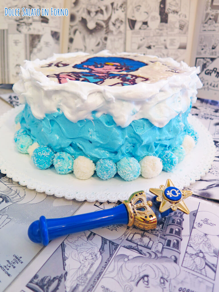 Torta tropicale glassata con meringa di Sailor Mercury
