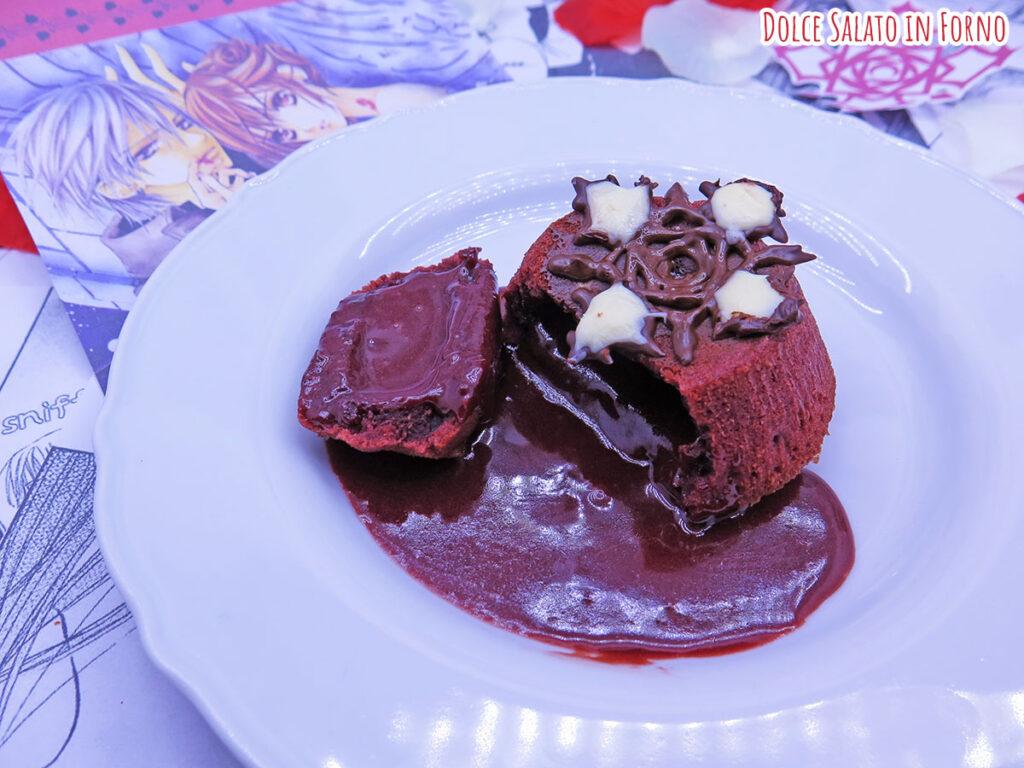 Tortino al cioccolato dal cuore caldo red velvet di Vampire Knight